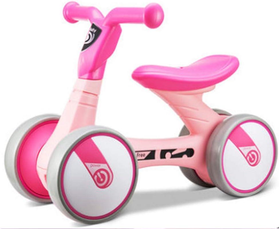 Equilibrio para niños Scooter de Coche Andador para bebés de 1 a 3 años sin Pedal de Cuatro Ruedas,Pink