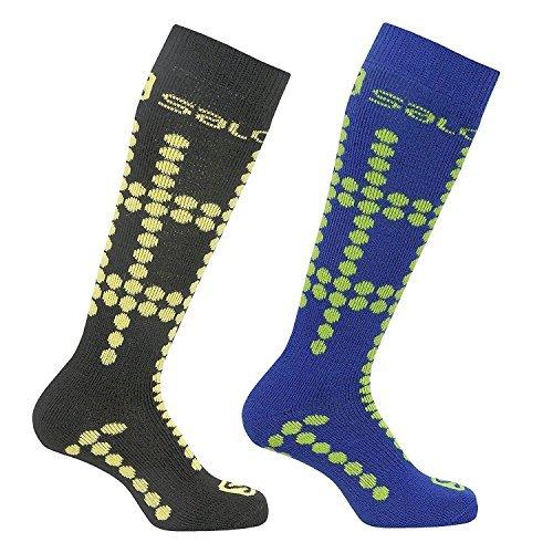 Salomon Junior 2 Pack Kids Ski Socks Cushioned Wool Blend (Bud Green/Corona, Med 12.5-2 (UK) 31-34 (EU))