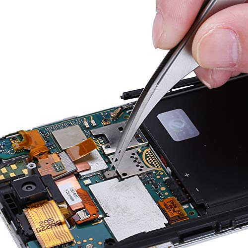 Industrial Tweezers   Curved Tip Forceps   Stainless Steel   For Mobile Phone Repair Tools by BATOP (Image #5)