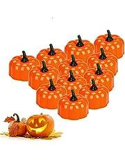 Halloween dynia światło E-More 12 szt. dynia świeczki tealight pomarańczowa dynia podgrzewacz podgrzewany bateria dynia bezpłomieniowa świeca na Halloween dekoracje do wewnątrz i na zewnątrz impreza ciepła biała migotanie