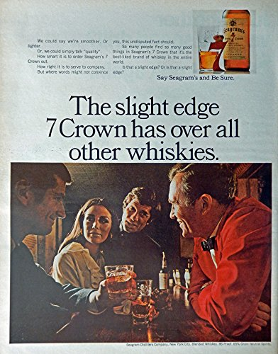 Seagram's Seven Crown Whiskey, 60's Print ad. Full Page Color Illustration (people visting at bar) Original Vintage 1969 Look Magazine Print Art