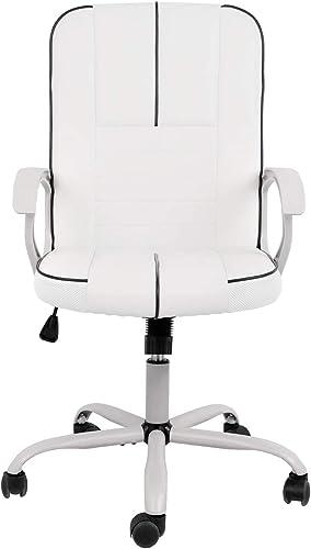 Ergonomic Executive White PU Leather Task Chair