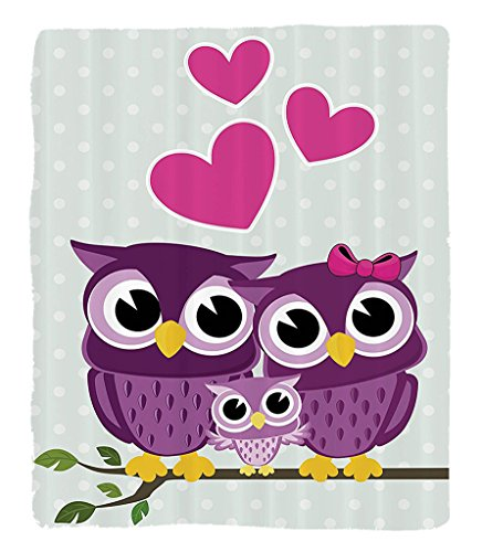 Chaoran 1 Fleece Blanket on Amazon Super Silky Soft All Season Super Plush Owls Cute Owls Couple with Baby Owlitting on a Branch Family Portrait Cartoon Art Fabric Extra Magenta Purple by chaoran