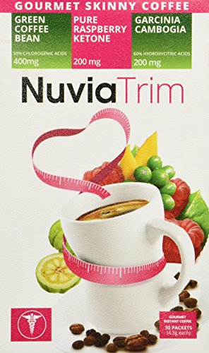 Nuvia Trim - Gourmet Instant Coffee for Weight Loss, with Garcinia Cambogia, Raspberry Ketones and Green Coffee Bean Extract, Vegan, No Sugar or Dairy, Great for Iced Coffee, 0.15oz packets(30 ct.) by Nuvia Trim