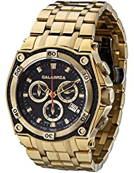 CALABRIA - AUREO - Gold Chronograph Mens Watch with Carbon Fiber Bezel and Stainless Steel Band