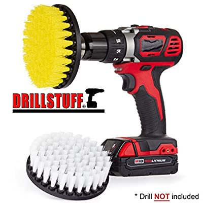 2 Piece quick change, Soft & Medium drillbrush-Power Scrubbing Brush Drill Attachment for Cleaning Showers, Tubs, Bathrooms, Tile, Grout, Carpet, Tires, Boats by Drillstuff