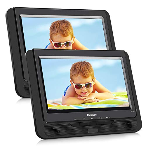 NAVISKAUTO 9.5″ Dual Screen Portable DVD Player, Headrest Video Player with 5 Hour Rechargeable Battery, 9.8ft Car Charger and Wall Charger, Last Memory and USB/SD Card Slot
