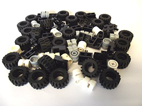 LEGO-City-Wheel-Tire-and-Axle-Set-Black-White-and-Light-Gray-72-Pieces-in-Total