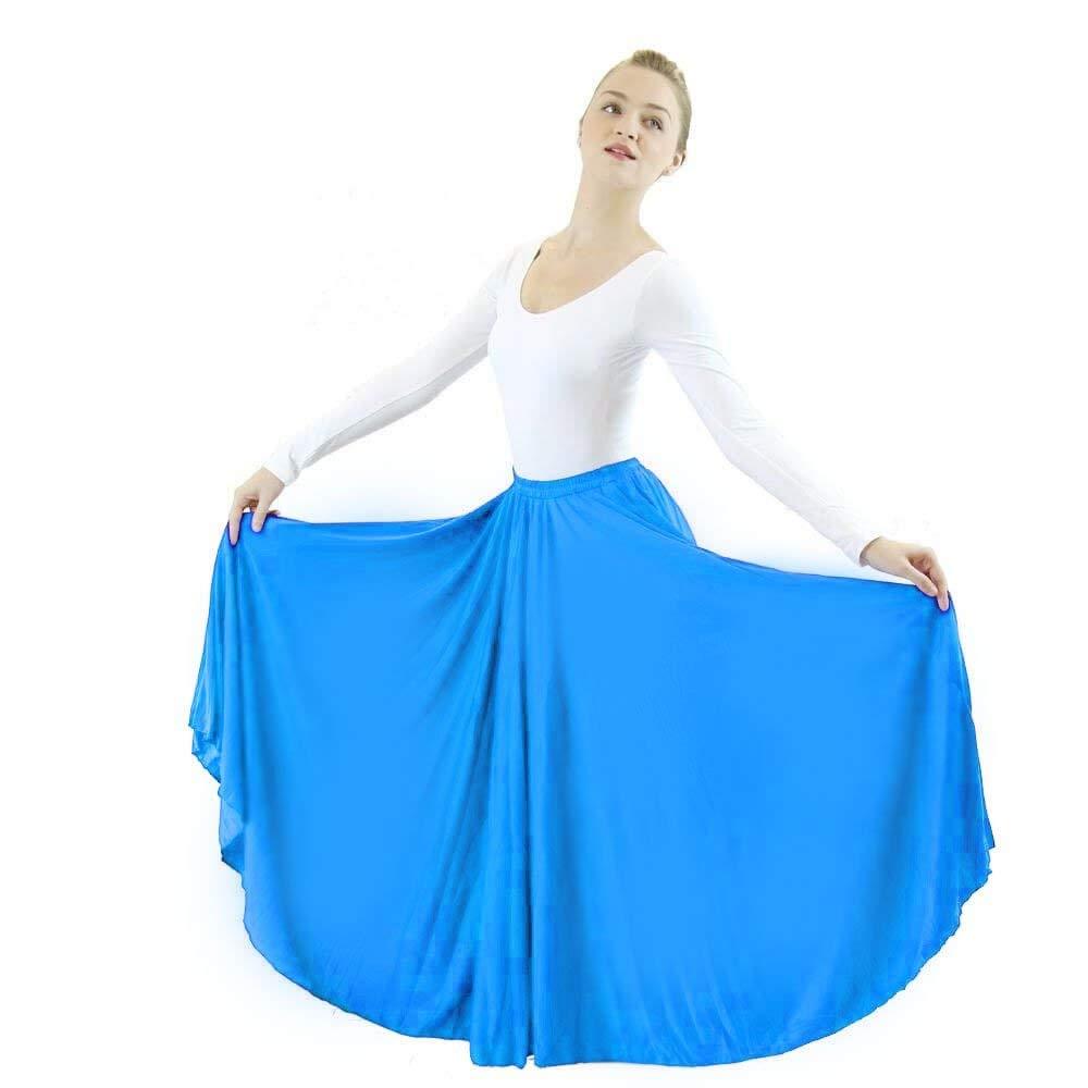 Danzcue Girls Long Full Circle Dance Skirt (S-M, Bright Royal) by Danzcue
