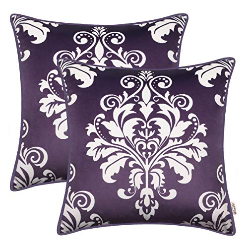 BRAWARM Pack of 2 Cozy Fleece Throw Pillow Covers Cases for Couch Sofa Bed Manual Hand Painted Vintage Solid Damask Floral with Piping 18 X 18 Inches Plum Purple (Pillows Toss Purple)