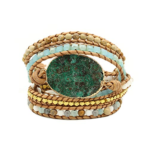 Bonnie Gold Plated Wrap Natural Stones Leather Wrap Around Stone Bracelet 5 Layer Natural Jasper Crystal Beaded Leather Bohemian Tribal Bracelet (Malachite) ()