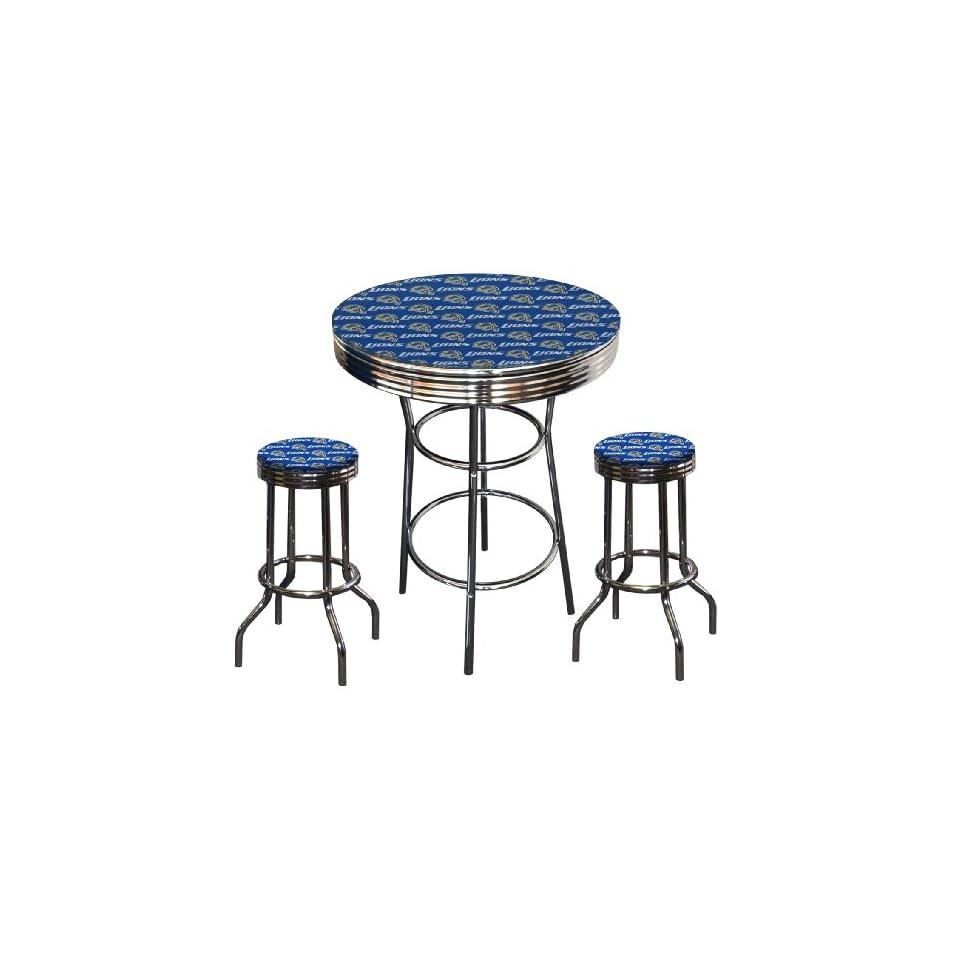 Detroit Lions NFL Football Glass Top Chrome Bar Pub Table Set With 2 Swivel Bar Stools