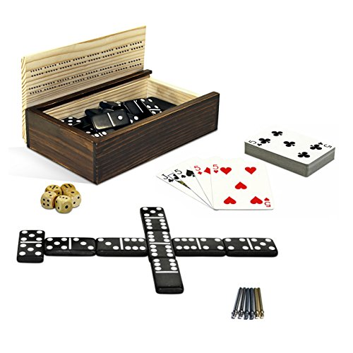 Cribbage Double 6 Dominoes Cards Wooden Dice 10-in-1 Game Combination Set in a Wooden Box with Sliding Lid by WE Games