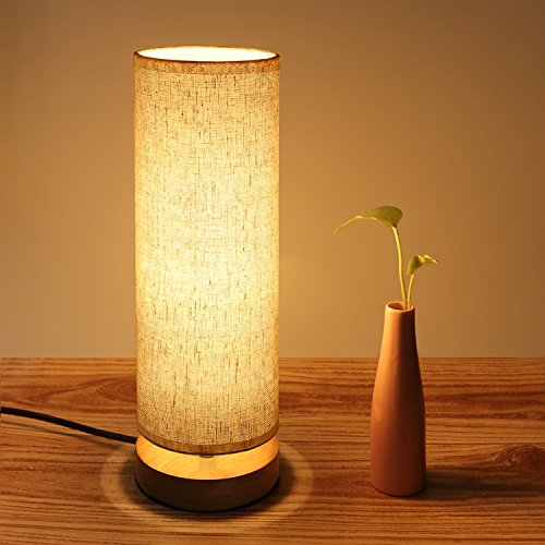 Bedside Table Lamp, Aooshine Minimalist Solid Wood Table Lamp Bedside Desk Lamp, Round Simple Desk Lamp, Nightstand Lamp with Adjustable Fabric (Lamp Wood Table Lamp)