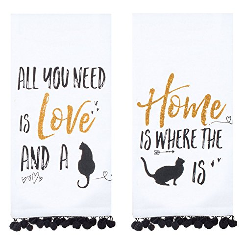 Kay Dee Designs Cat Lover's Flour Sack Kitchen Towels with Gold Glitter Accents (2 pc) - Hand Towel Set, Dish Cloths with Cat