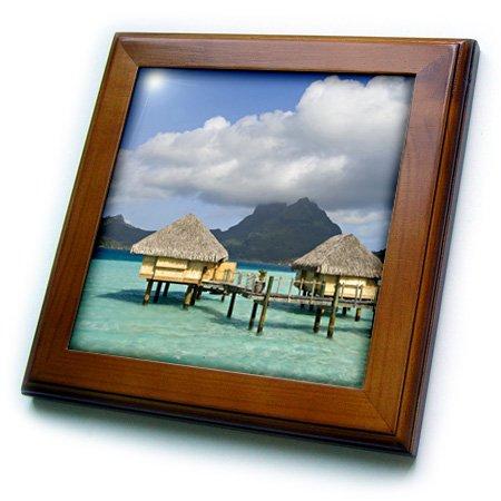 3dRose ft_85146_1 Pearl Beach Resort, Bora-Bora, French Polynesia - OC13 SPI0022 - Sergio Pitamitz - Framed Tile, 8 by 8-Inch ()