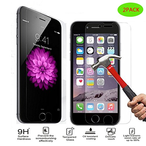 (2-Pack)iPhone 8/iPhone 7 Screen Protector Glass,0.3MM Slim And 9H Hardness Bubble Free, iPhone 8/iPhone 7 Tempered Glass Screen Protector for Apple iPhone 7/iPhone ()