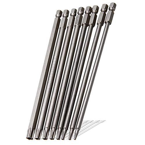 Saiper 8 Pieces 1/4 Inch Hex Shank Torx Security Head Screw Driver Bit Magnetic Star S2 Steel Screwdriver Set Bits T8-T40, 150mm/6 Inch ()