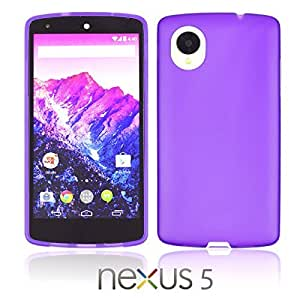 OnlineBestDigital - Colorful Transparent Case with White Outlet for Google Nexus 5 Phone - Purple with 3 Screen Protectors