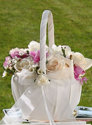 Amazon.com: Wedding Flower Girl Baskets : Hearts and Roses Flower ...