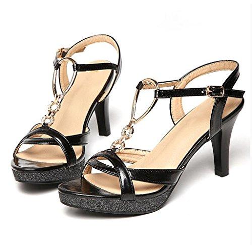 romaines pour avec Noir boucle taille sexy Sandales orteil hauts sauvage stilettos épais 2018 or nouvelle avec femmes chaussures Escarpin femmes talons ouvert été de MUMA Noir argent Couleur mot noir qzSECSw