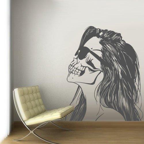 Wall Decal Vinyl Sticker Decals Art Decor Skull Tattoo Girl Sunglasses Victorian Zombi Makeup Hair Salon Studio Bedroom Gift Dorm (Z3121)