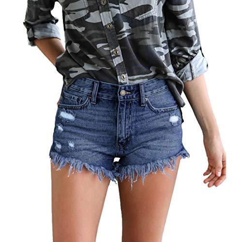 Weigou Denim Shorts Women Casual Summer High Waisted Jeans Short Hem Ripped Hot Shorts (L, Dark Blue(2))