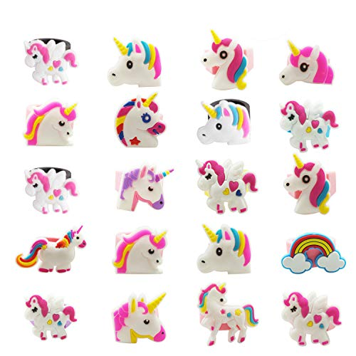 20 Pack Multicolor Unicorn Ring,Rubber Unicorn Party Supplies Party Favors -