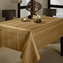 "Benson Mills Flow Heavy Weight ""Spillproof"" 60-Inch by 120-Inch Fabric Tablecloth, Taupe"