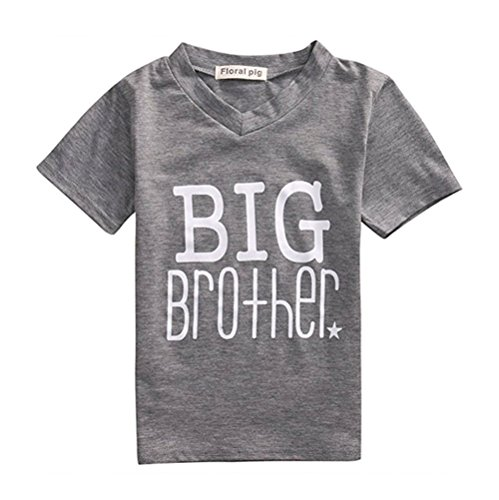 Toddler Boys Big Brother V neck Grey T Shirt Little Brother White Baby Bodysuits (3-4T, Big bro)