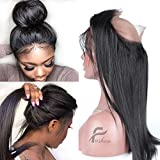 Fushen Hair Pre Plucked 360 Lace Frontal Closure 8A Brazilian Straight 360 Lace Frontals with Baby Hair Natural Hairline 8 inches
