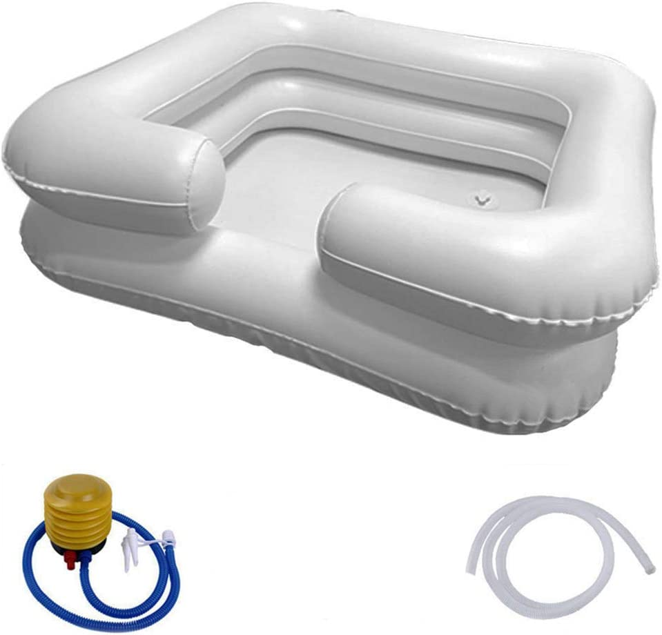 Portable Inflatable Shampoo Basin with Air Pump for Elderly Disabled Pregnant Women Postoperative Patients Bedridden Patients at Home or Hospital,Dye/Cut Hair (Silver White)