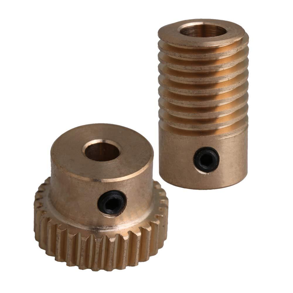 Yibuy 30T 0.5 Modulus 1:30 Brass Worm Wheel & 6MM Hole Dia Shaft Parts Kits etfshop M7180801072