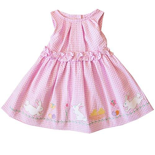 Good Lad 2/6X Girls Pink Bunny Appliqued Seersucker Dress (4) -