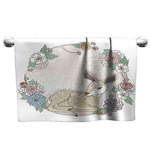 - Big datastore Towel Cute Baby Deer and Flowers Frame Fast Drying Fitness Hand Towels Size:W23.5 xL8