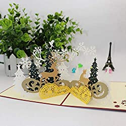 Blue Stones 3D Christmas Party Invitation Card Creative Reindeer Greeting Card ren 3D pop up Card Desktop Decoration tab