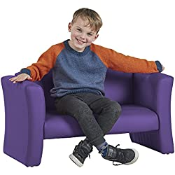 ECR4Kids SoftZone Gum Drop Upholstered Sofa for Kids - Daycare, Homeschool, Classroom Furniture, Home Decor - Purple