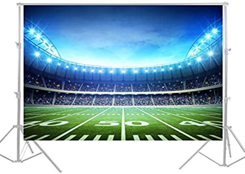 DaShan 14x10ft American Football Super Bowl Football Field Backdrop Green Grass Lawn Sports Match Photography Background Baby Kids Boys Outdoor Game Sports Birthday Party Cake Table Photo Prop