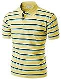 Men's 180-200 TC Silket Striped Polo Dri Fit Collar T-Shirt YELLOW M