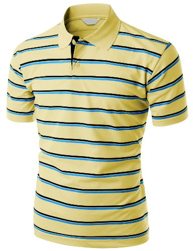 Men's 180-200 TC Silket Striped Polo Dri Fit Collar T-Shirt YELLOW L - Yellow Collar Polo T-shirt