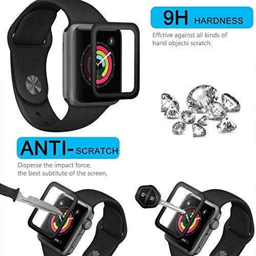 Smartwatch Screen Protector for Apple Watch 38mm Series 3/2/1-Max Coverage 3D Curved Tempered Glass Film [9H Hardness+Crystal Clear+Scratch Resist+No-Bubble+Strong adsorption](38mm-2 Pack)-Upgraded