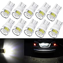 Alla Lighting 10pcs 2W High Power Super Bright 194 168 2825 175 W5W LED Bulbs -- 6000K Xenon White Miniature T10 SMD Wedge Lights