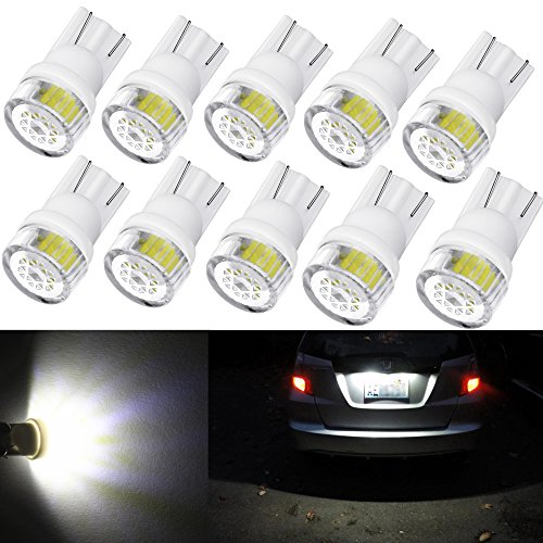 Alla Lighting 10pcs 2W High Power Super Bright 194 168 2825 175 W5W LED Bulbs -- 6000K Xenon White Miniature T10 SMD Wedge - Trim Cts Base Cadillac