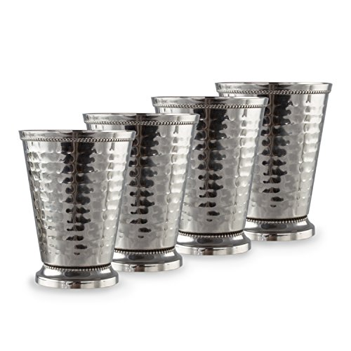 Cocktail Mint Julep Cup – 12 Oz Stainless Steel Mint Julep Glasses (Hammered) (4) by Imperial Home (Image #7)