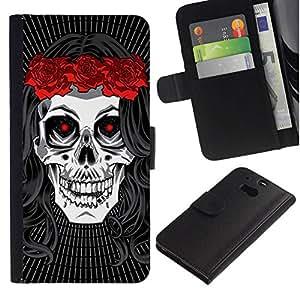 All Phone Most Case / Oferta Especial Cáscara Funda de cuero Monedero Cubierta de proteccion Caso / Wallet Case for HTC One M8 // Hippie Skull Peace Red Rose Devil