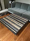 Beautiful Modern Coffee Table with Grey and Black strips of reclaimed wood Review