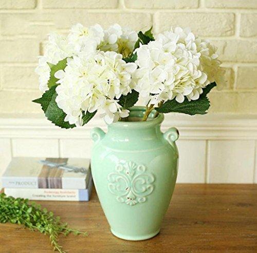 AMA(TM) 5 Bouquets Artificial Hydrangea Silk Flower Bouquet Bridal Wedding Party Home Decor (White) (Hydrangea Silk Flowers In Vase)