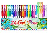 24 Colors Gel Pens, Coloring Gel Pen Art Markers for Journal Adult Coloring Books Drawing Note Taking, 40% More Ink for Kids