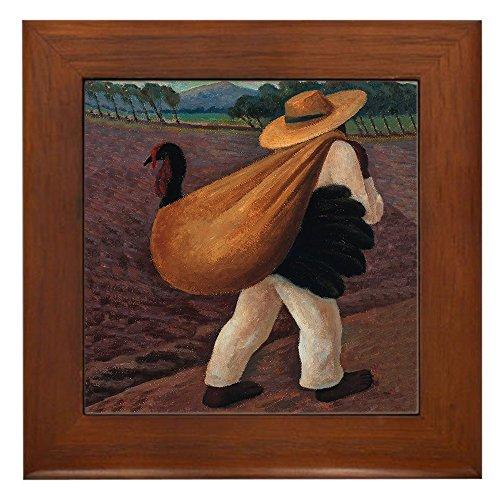 CafePress - Diego Rivera Farmer Art Tile - Framed Tile, Decorative Tile Wall - Wall Art Decor Tile Framed