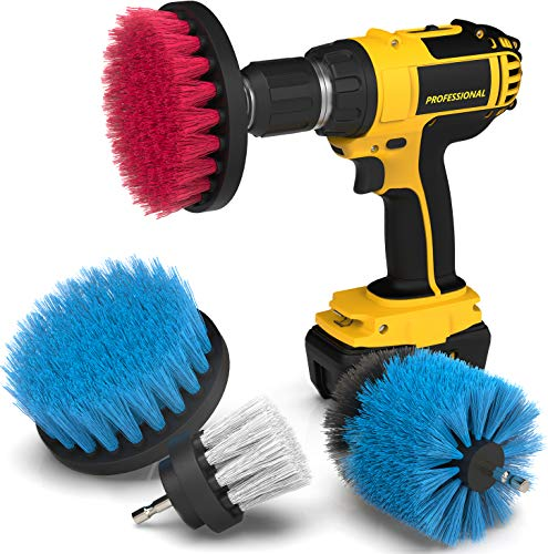Drill Attachment Power Scrubber – Turbo Scrub Kit of 4 Scrubbing Brushes – All Purpose Shower Door, Bathtub, Toilet, Tile, Grout, Rim, Floor, Carpet, Bathroom and Kitchen Surfaces Cleaner ()